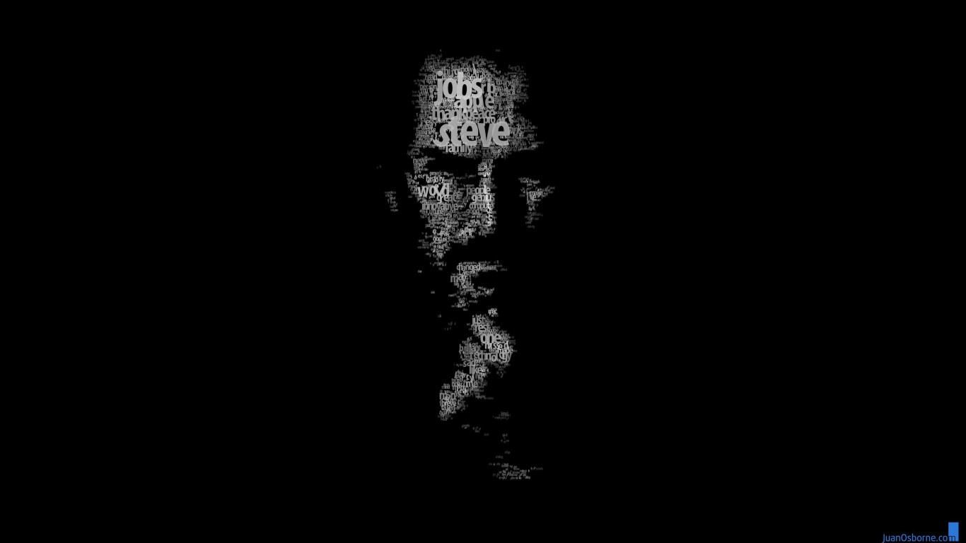 Typeface Portrait of Steve Jobs Wallpaper for Desktop 1366x768