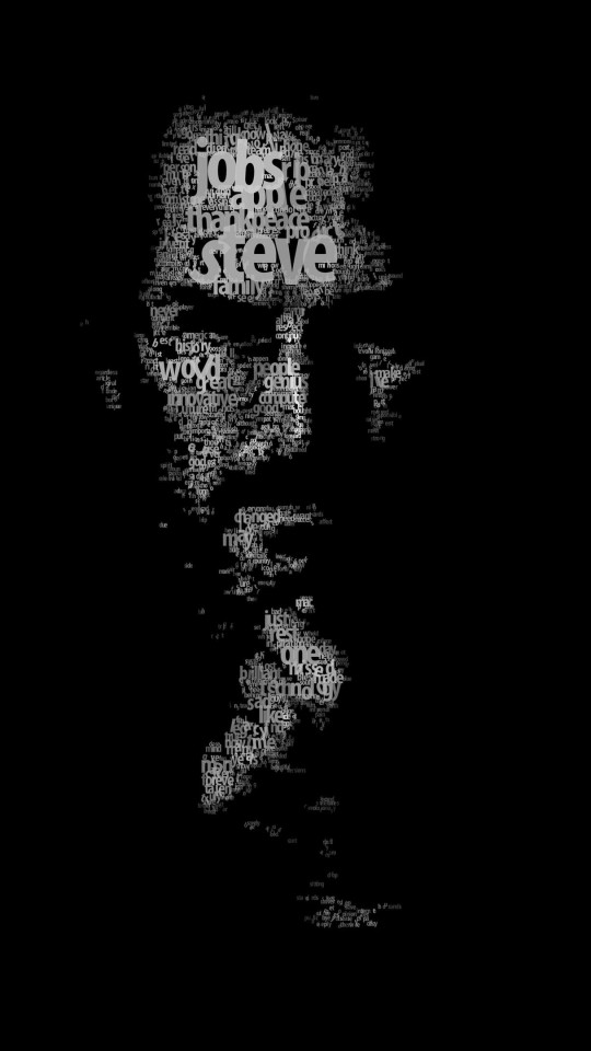 Typeface Portrait of Steve Jobs Wallpaper for SAMSUNG Galaxy S4 Mini