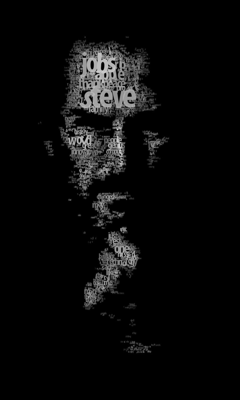 Typeface Portrait of Steve Jobs Wallpaper for Google Nexus 4
