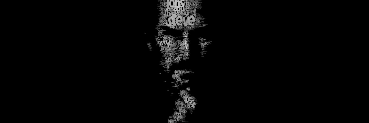 Typeface Portrait of Steve Jobs Wallpaper for Social Media Twitter Header