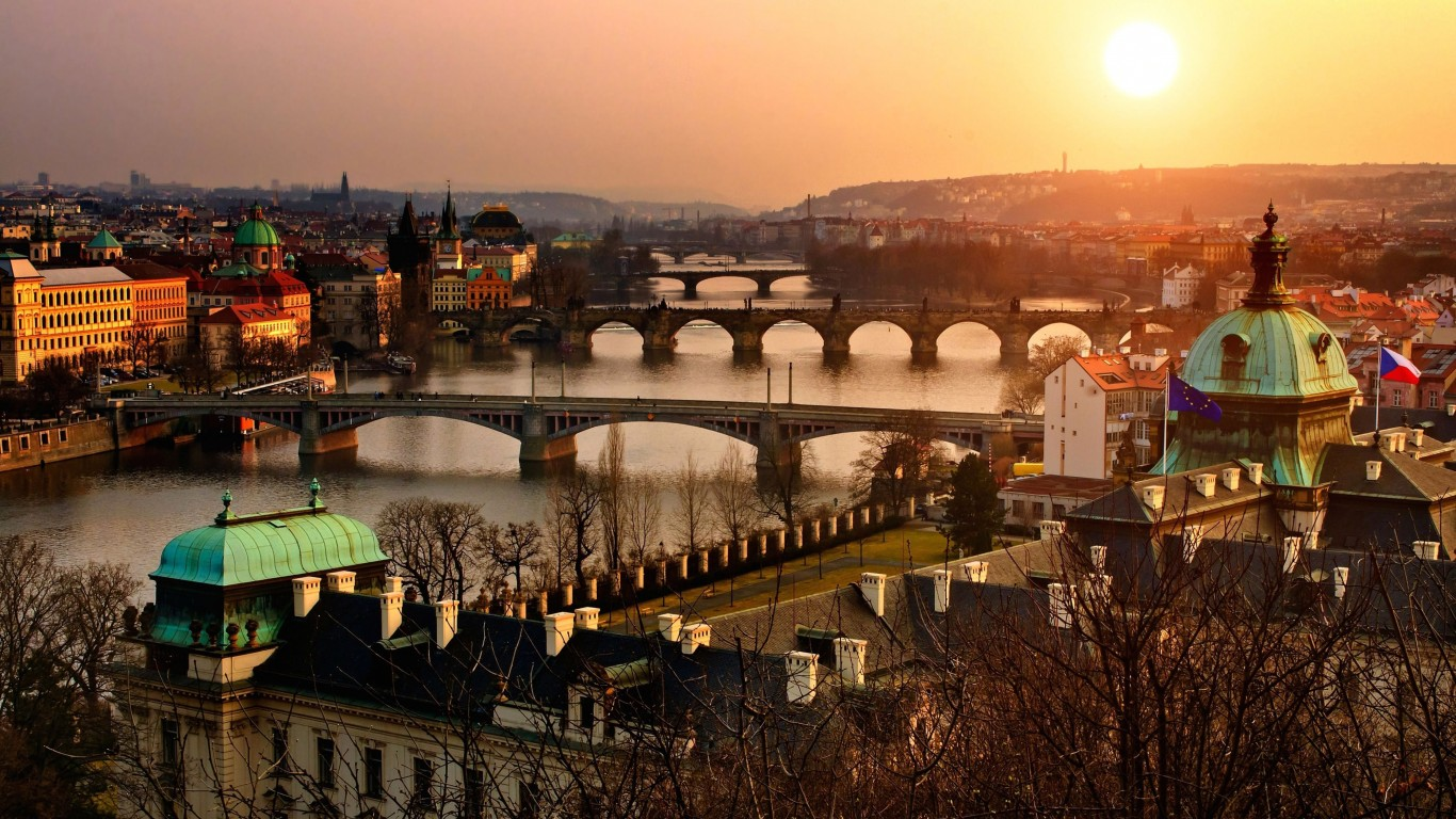 Vltava River in Prague Wallpaper for Desktop 1366x768