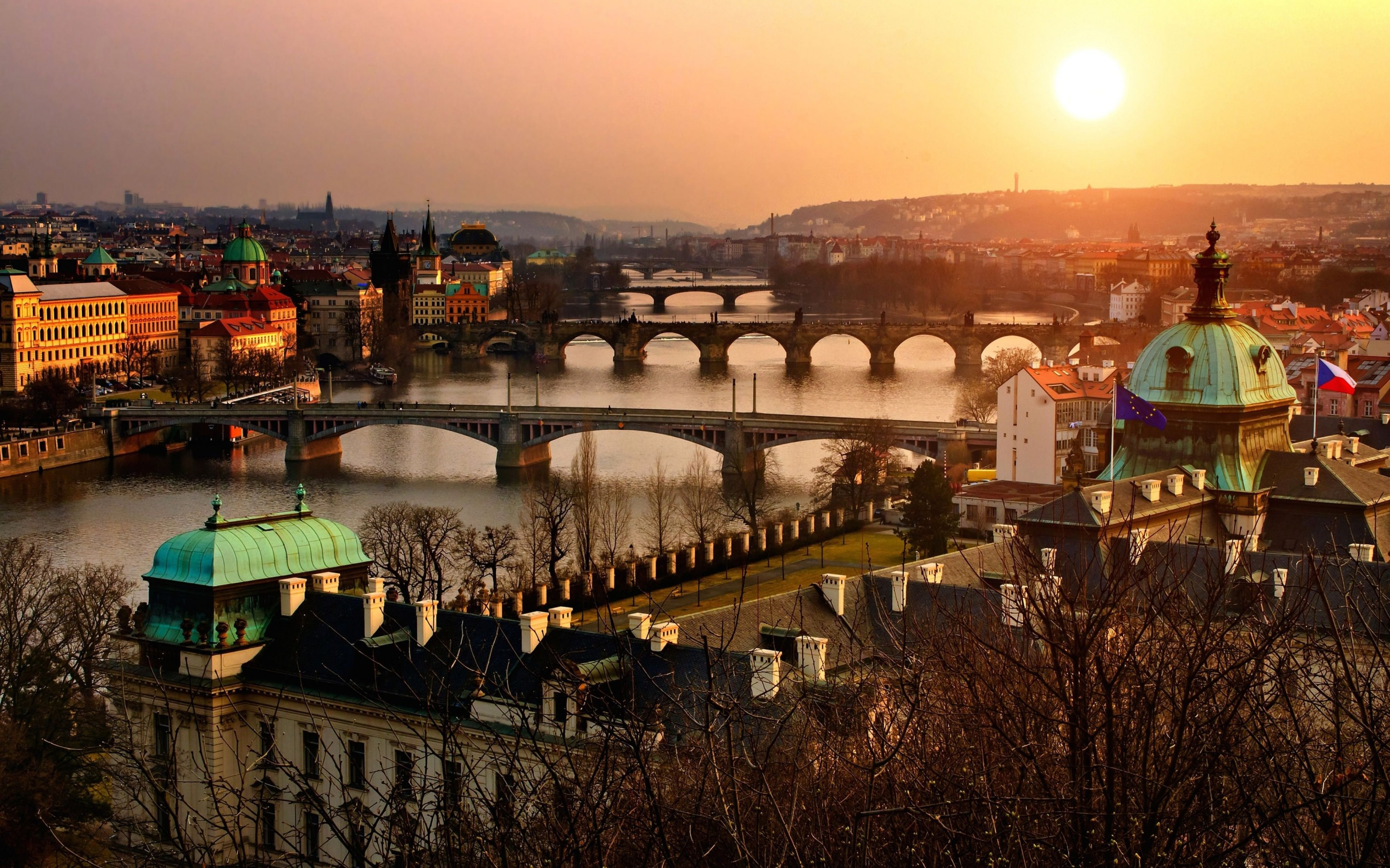 Vltava River in Prague Wallpaper for Desktop 2880x1800