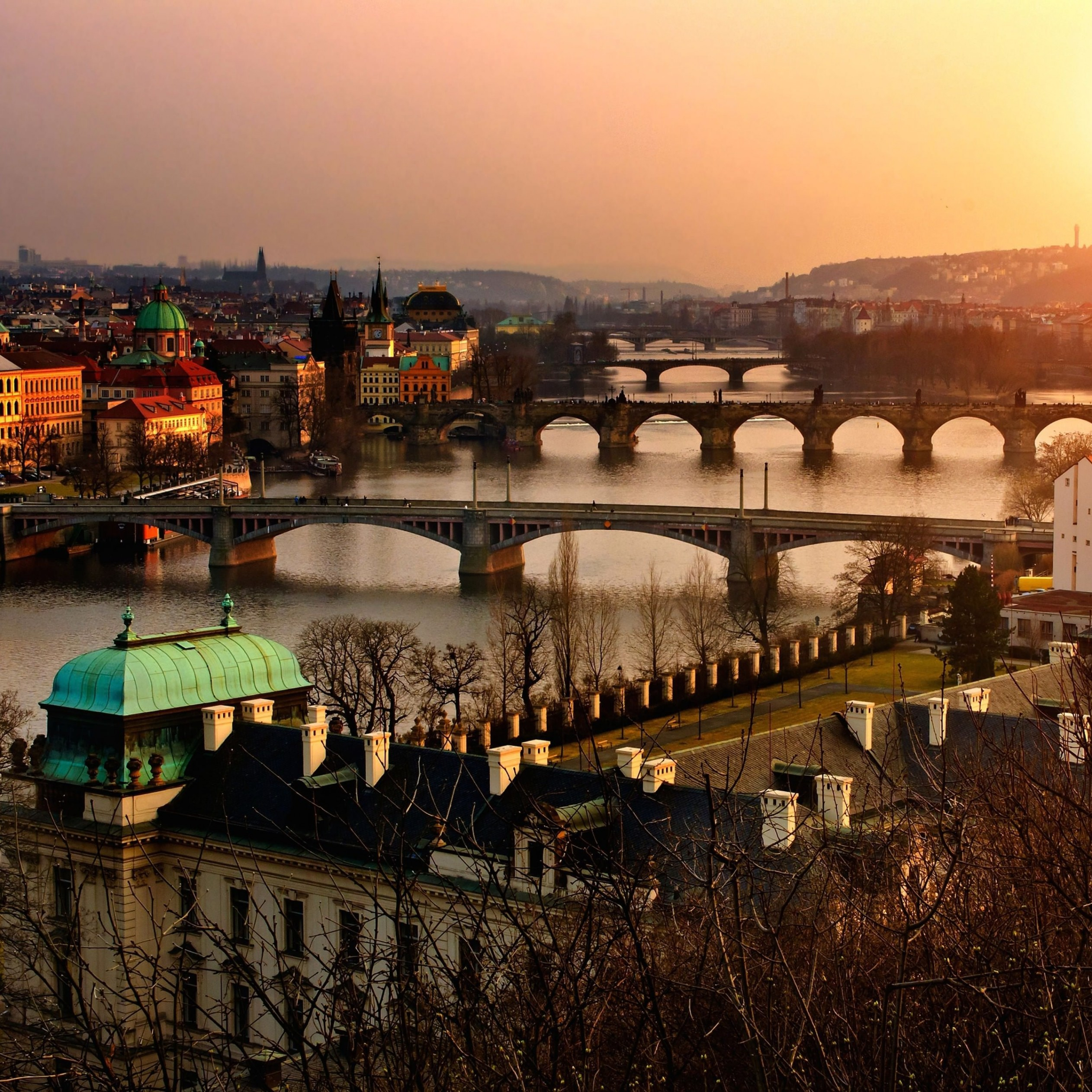Vltava River in Prague Wallpaper for Apple iPad Air