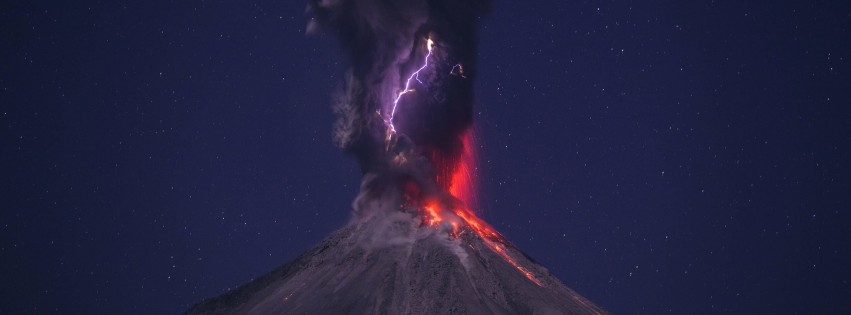 Volcanic Lightning Wallpaper for Social Media Facebook Cover