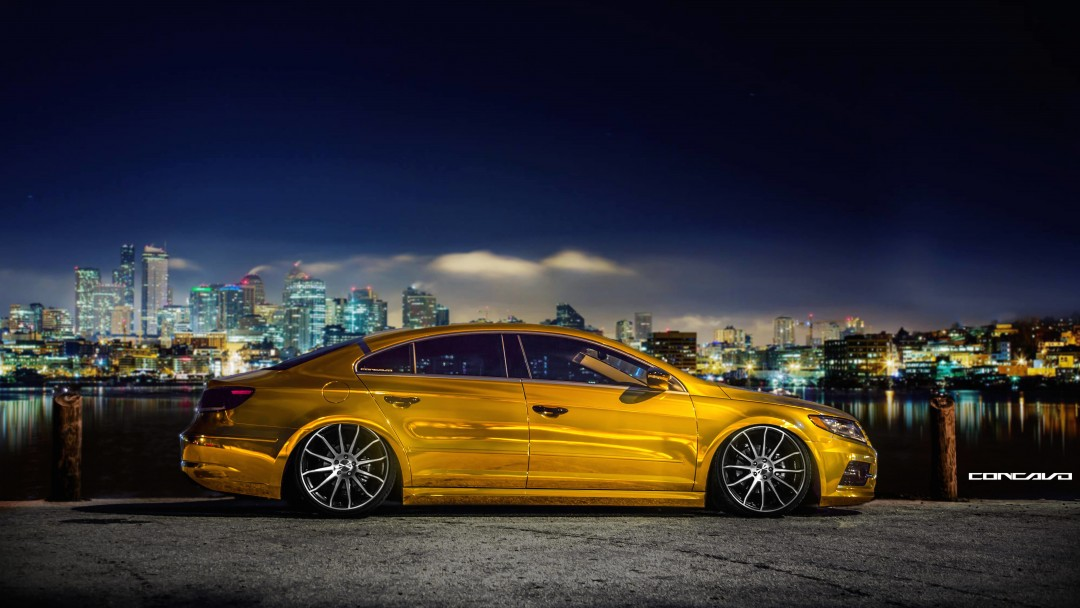 Volkswagen CC on CW-12 Concave Wheels Wallpaper for Social Media Google Plus Cover