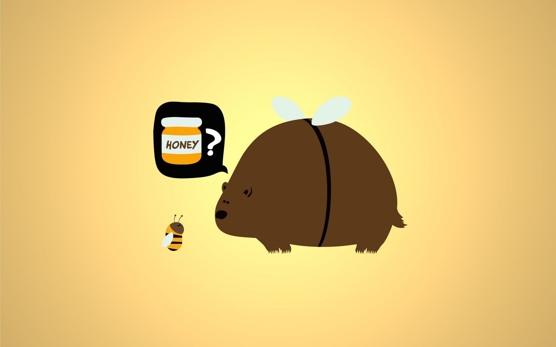 When a Bear Meet a Bee Wallpaper for Desktop 1920x1200