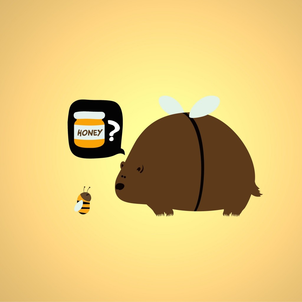 When a Bear Meet a Bee Wallpaper for Apple iPad 2