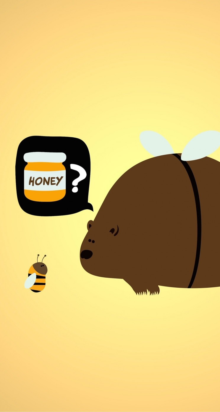 When a Bear Meet a Bee Wallpaper for Apple iPhone 5 / 5s
