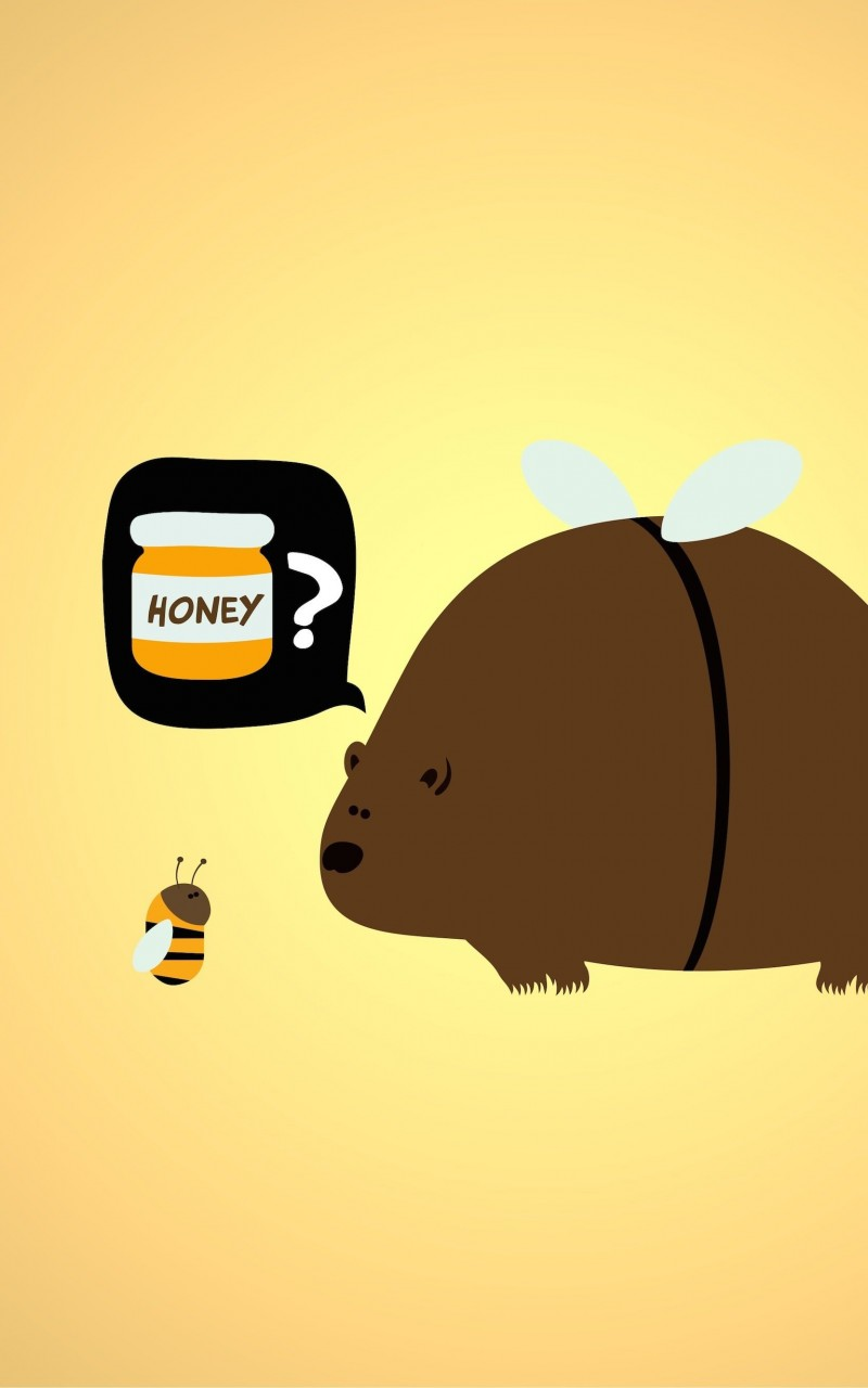 When a Bear Meet a Bee Wallpaper for Amazon Kindle Fire HD
