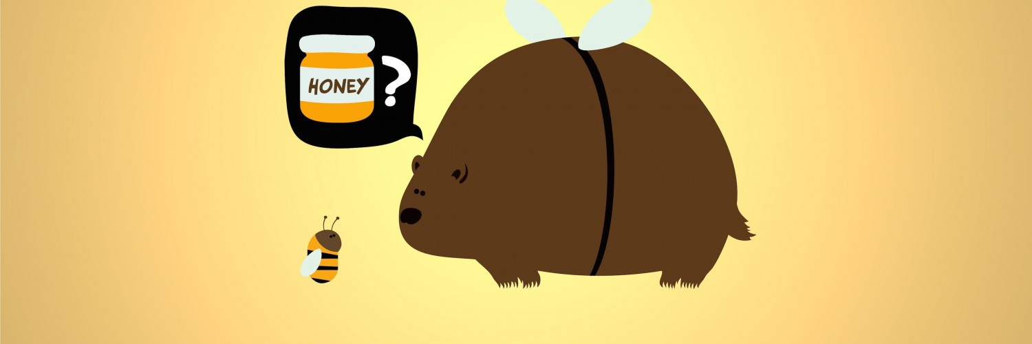 When a Bear Meet a Bee Wallpaper for Social Media Twitter Header
