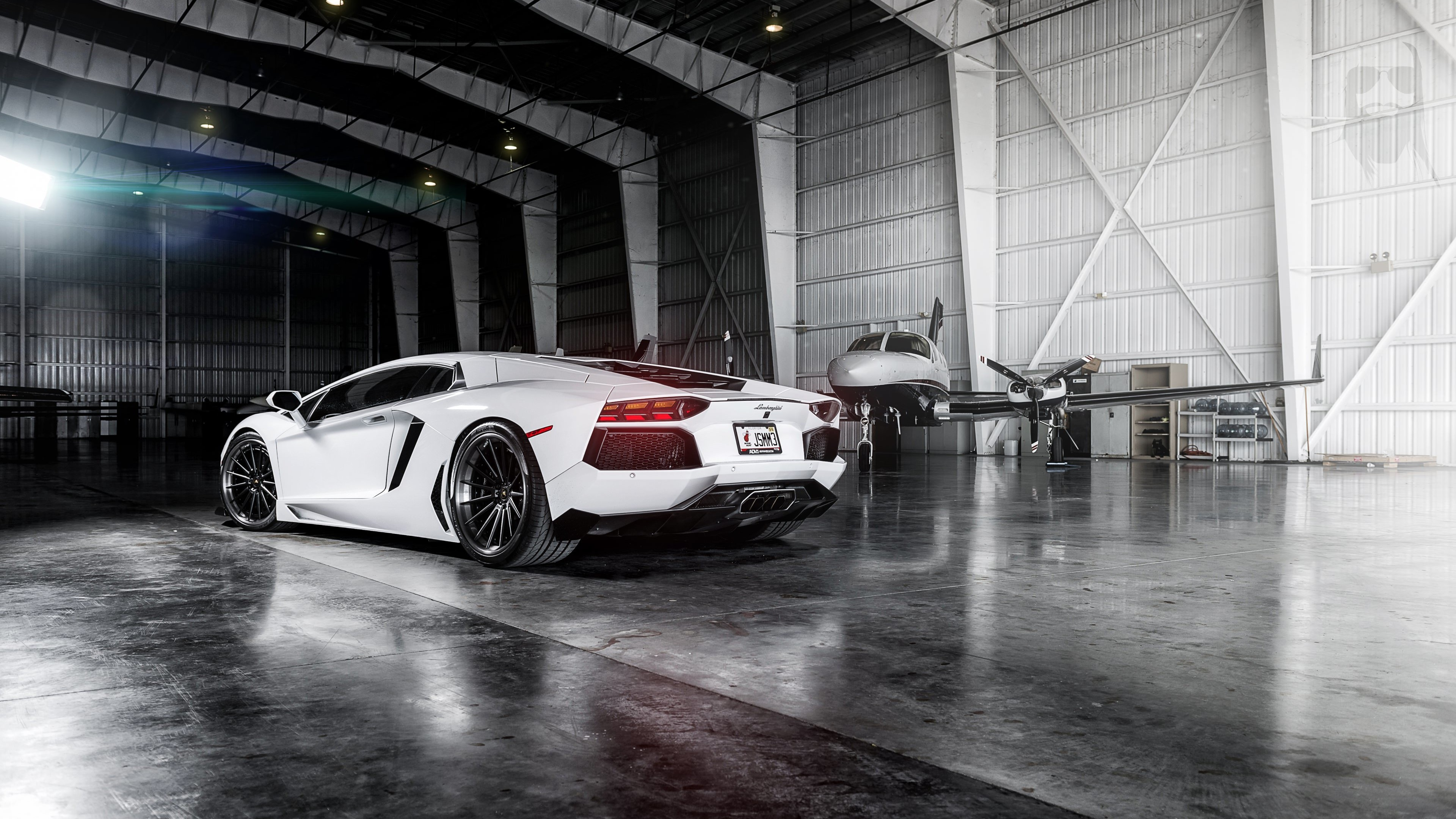 White Lamborghini Aventador Wallpaper for Desktop 4K 3840x2160