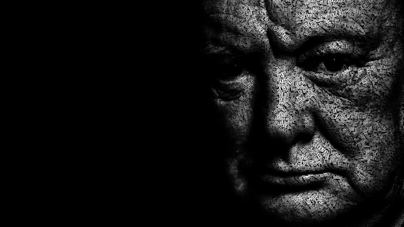 Winston Churchill Typographic Portrait Wallpaper for Desktop 1366x768