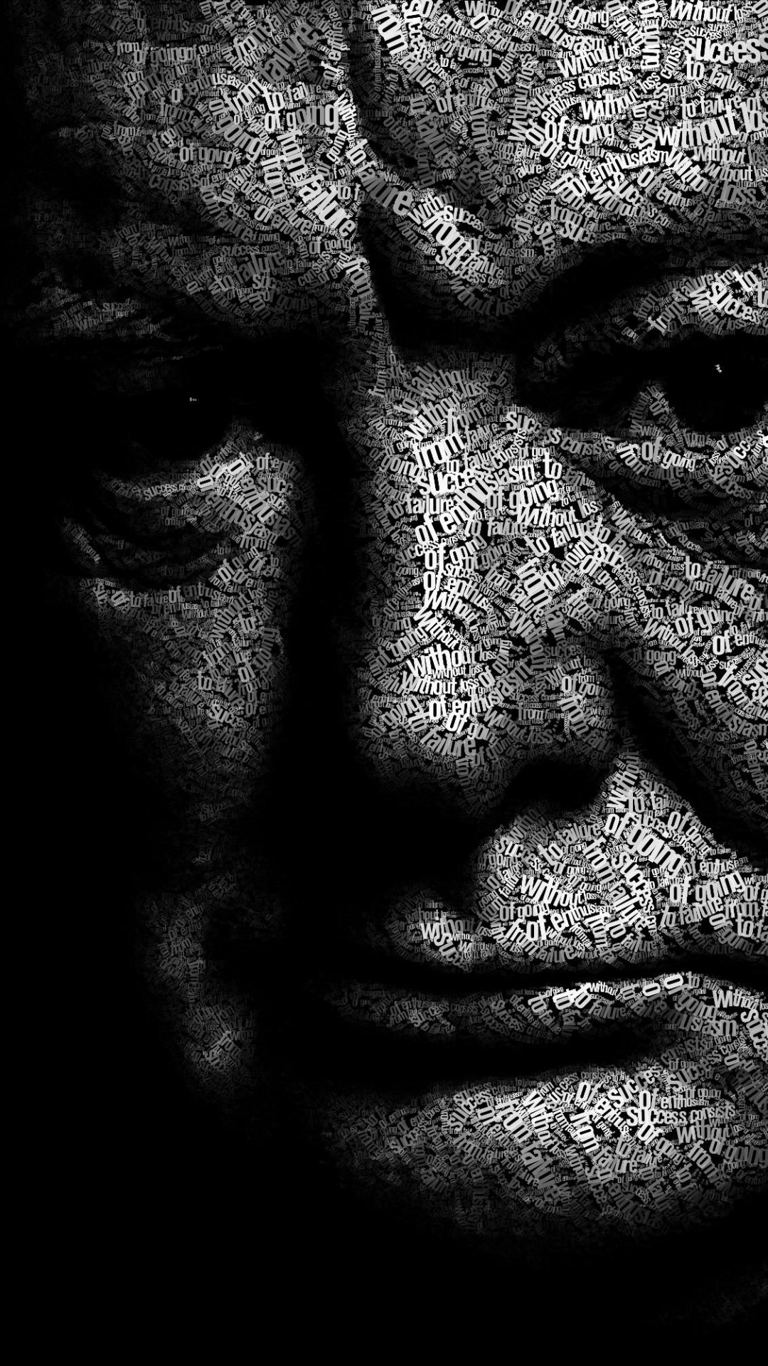 Winston Churchill Typographic Portrait Wallpaper for HTC One