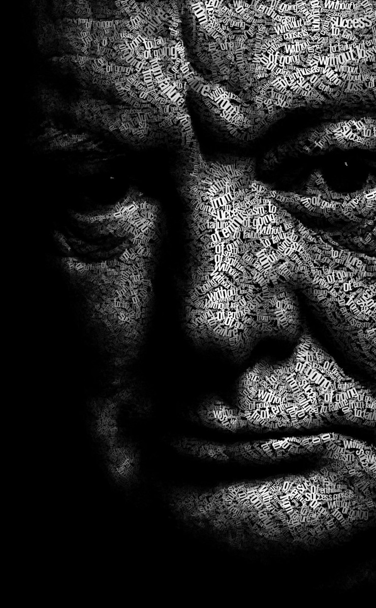 Winston Churchill Typographic Portrait Wallpaper for Apple iPhone 4 / 4s