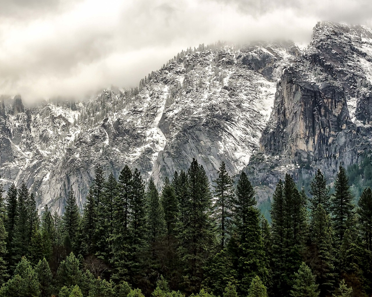 Winter Day at Yosemite National Park Wallpaper for Desktop 1280x1024