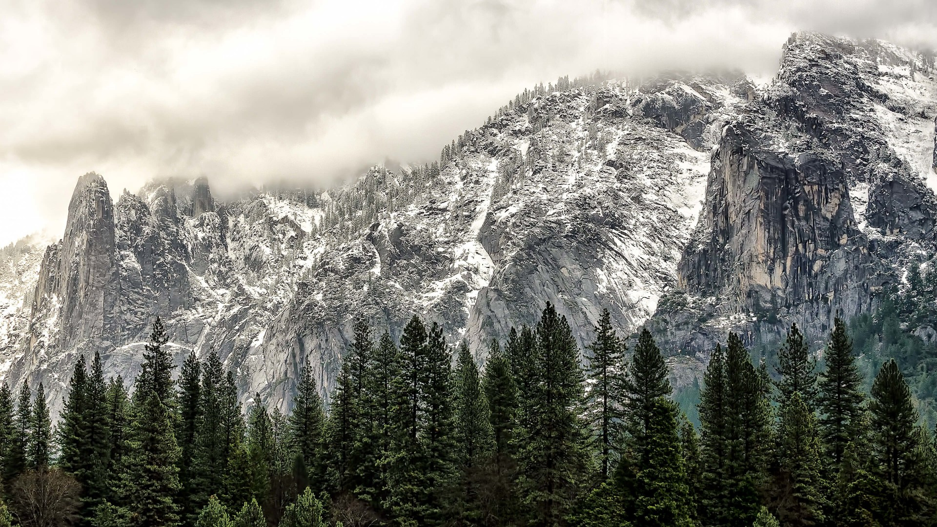 Winter Day at Yosemite National Park Wallpaper for Desktop 1920x1080