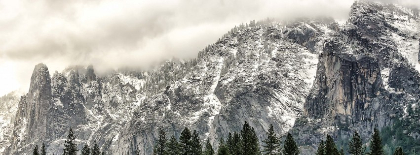 Winter Day at Yosemite National Park Wallpaper for Social Media Facebook Cover