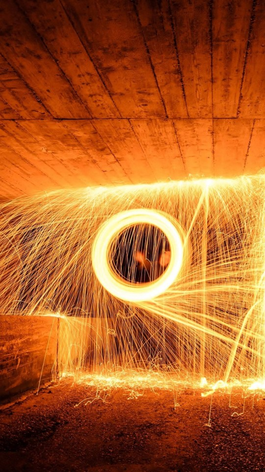 Wire Wool Long Exposure Wallpaper for SAMSUNG Galaxy S4 Mini