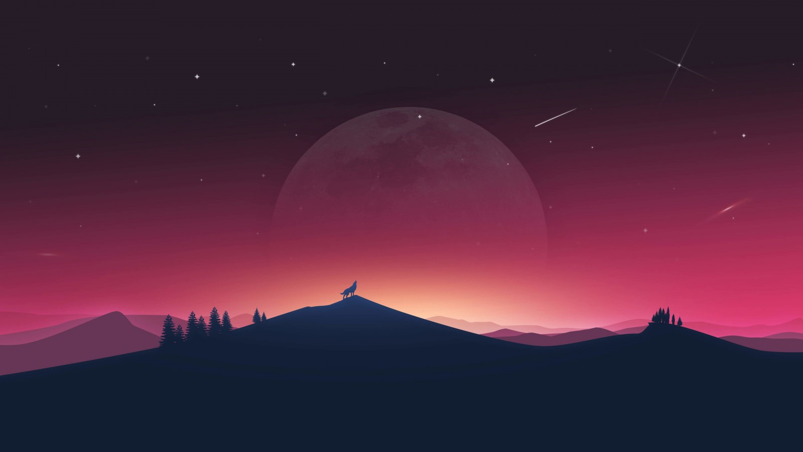 Wolf Howling At The Moon Wallpaper for Desktop 1600x900