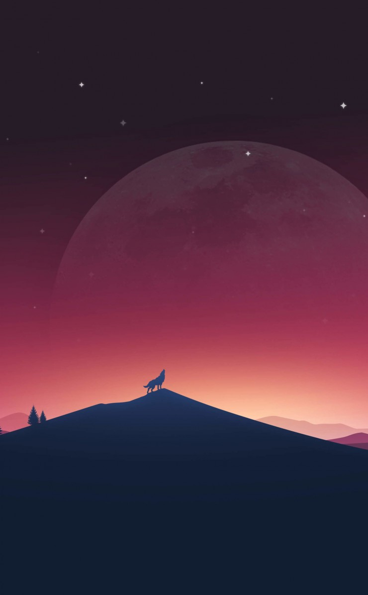 Wolf Howling At The Moon Wallpaper for Apple iPhone 4 / 4s