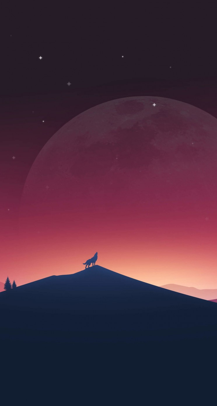 Wolf Howling At The Moon Wallpaper for Apple iPhone 5 / 5s