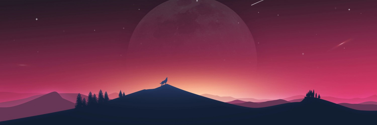Wolf Howling At The Moon Wallpaper for Social Media Twitter Header