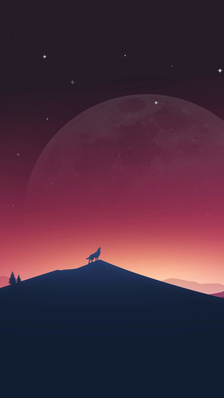 Wolf Howling At The Moon Wallpaper for Xiaomi Redmi 2
