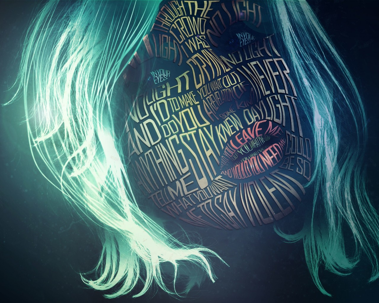 Woman Face Typography Wallpaper for Desktop 1280x1024