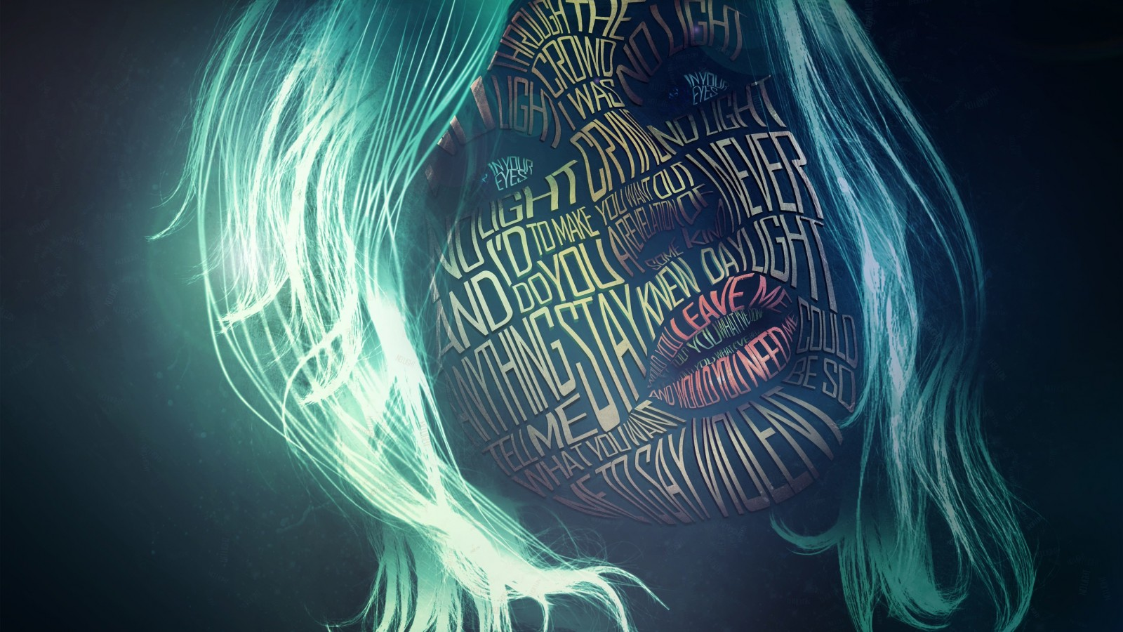 Woman Face Typography Wallpaper for Desktop 1600x900