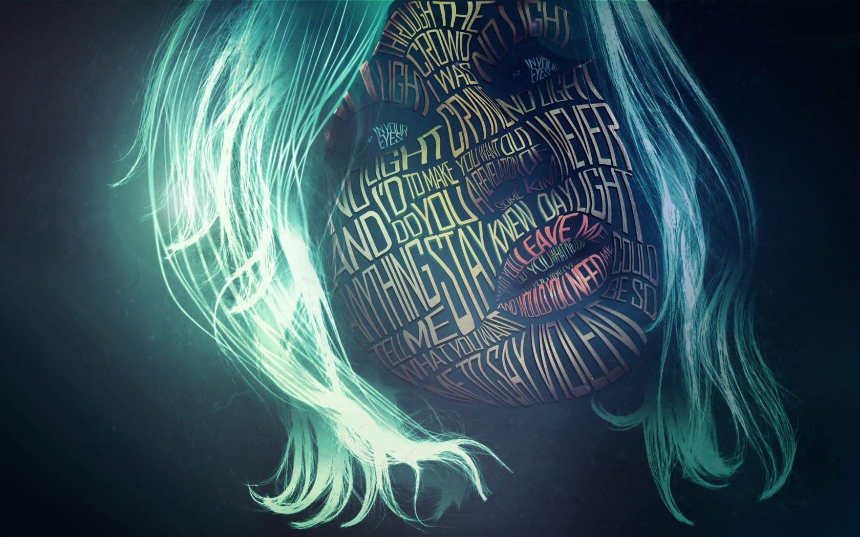 Woman Face Typography Wallpaper for Desktop 1680x1050