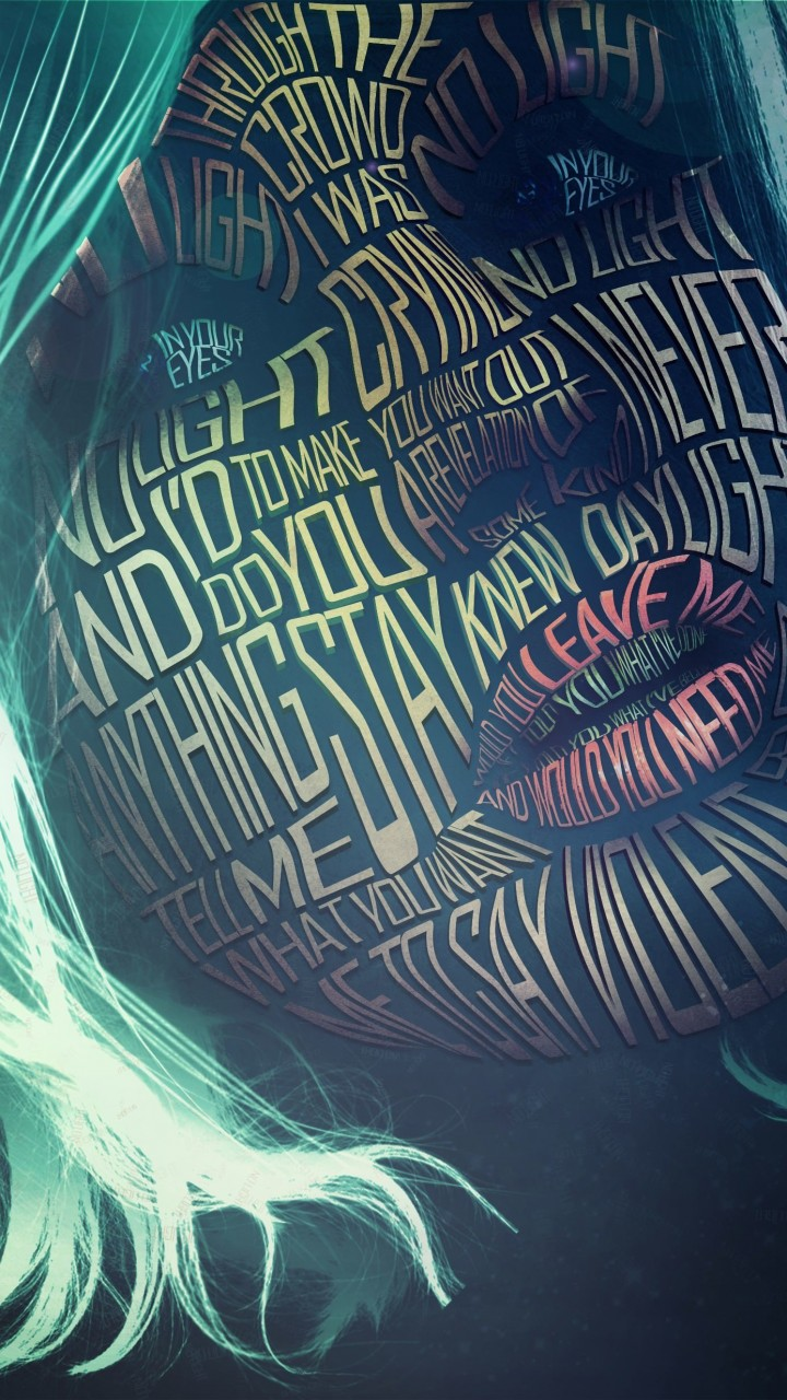 Woman Face Typography Wallpaper for SAMSUNG Galaxy Note 2