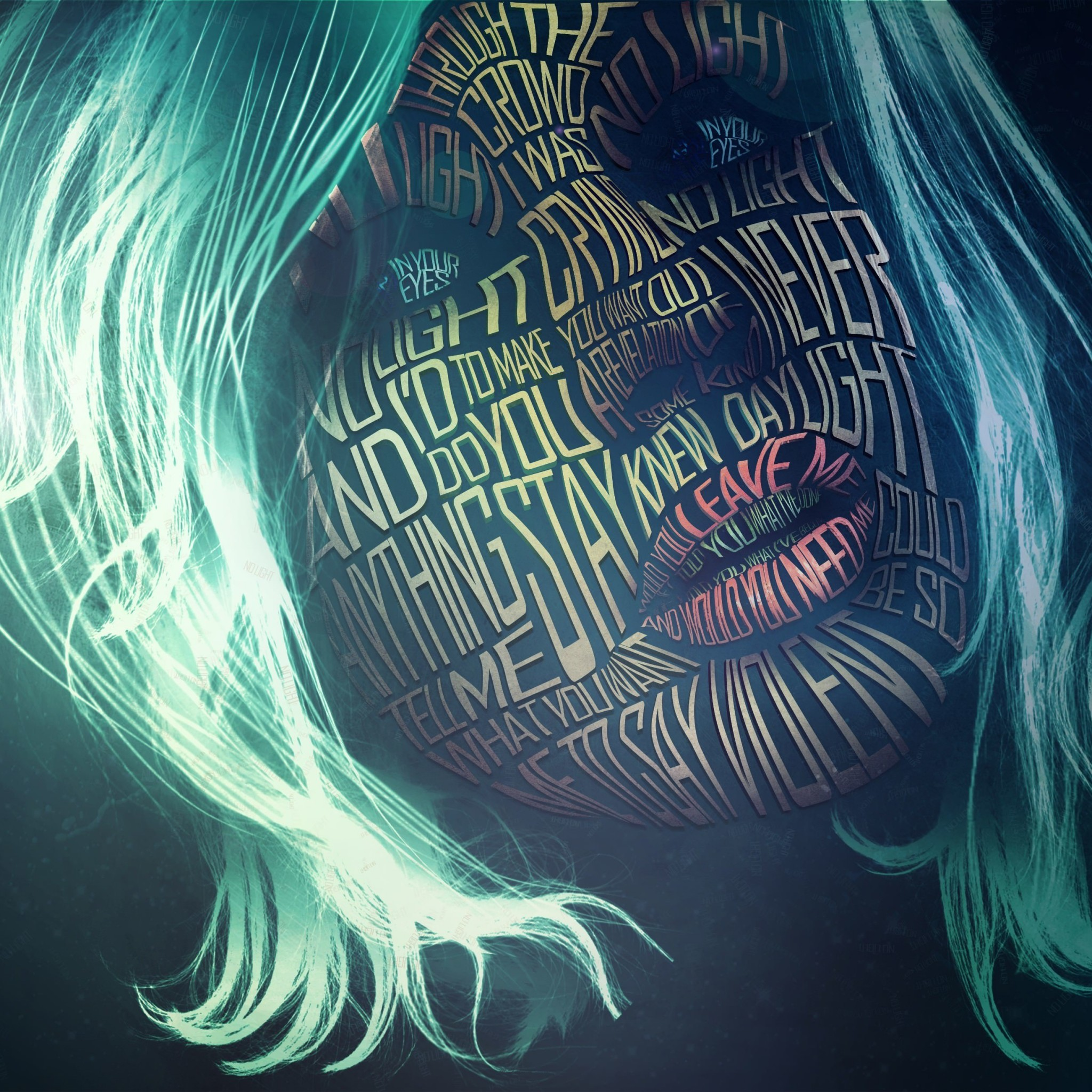 Woman Face Typography Wallpaper for Google Nexus 9