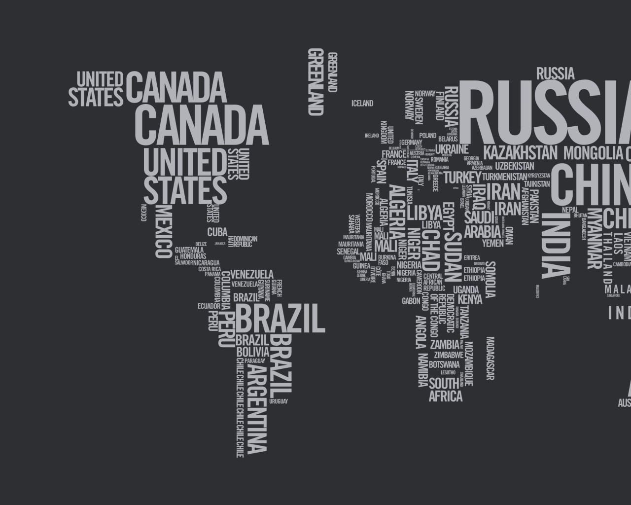 World Map Typography Wallpaper for Desktop 1280x1024