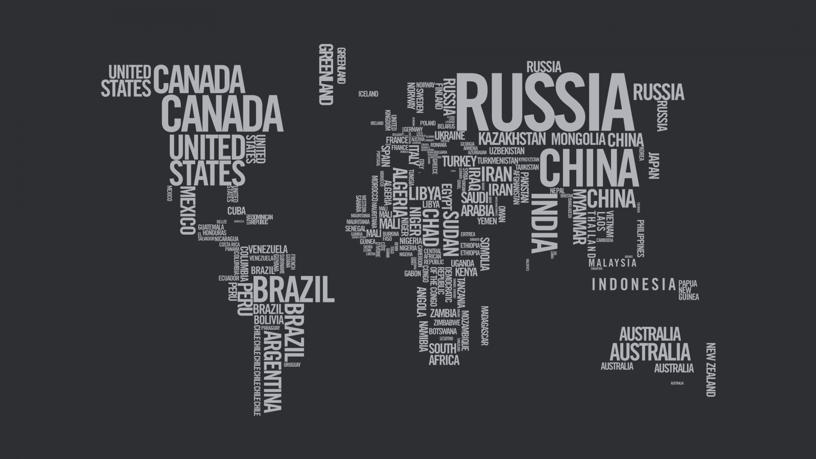 World Map Typography Wallpaper for Desktop 1600x900