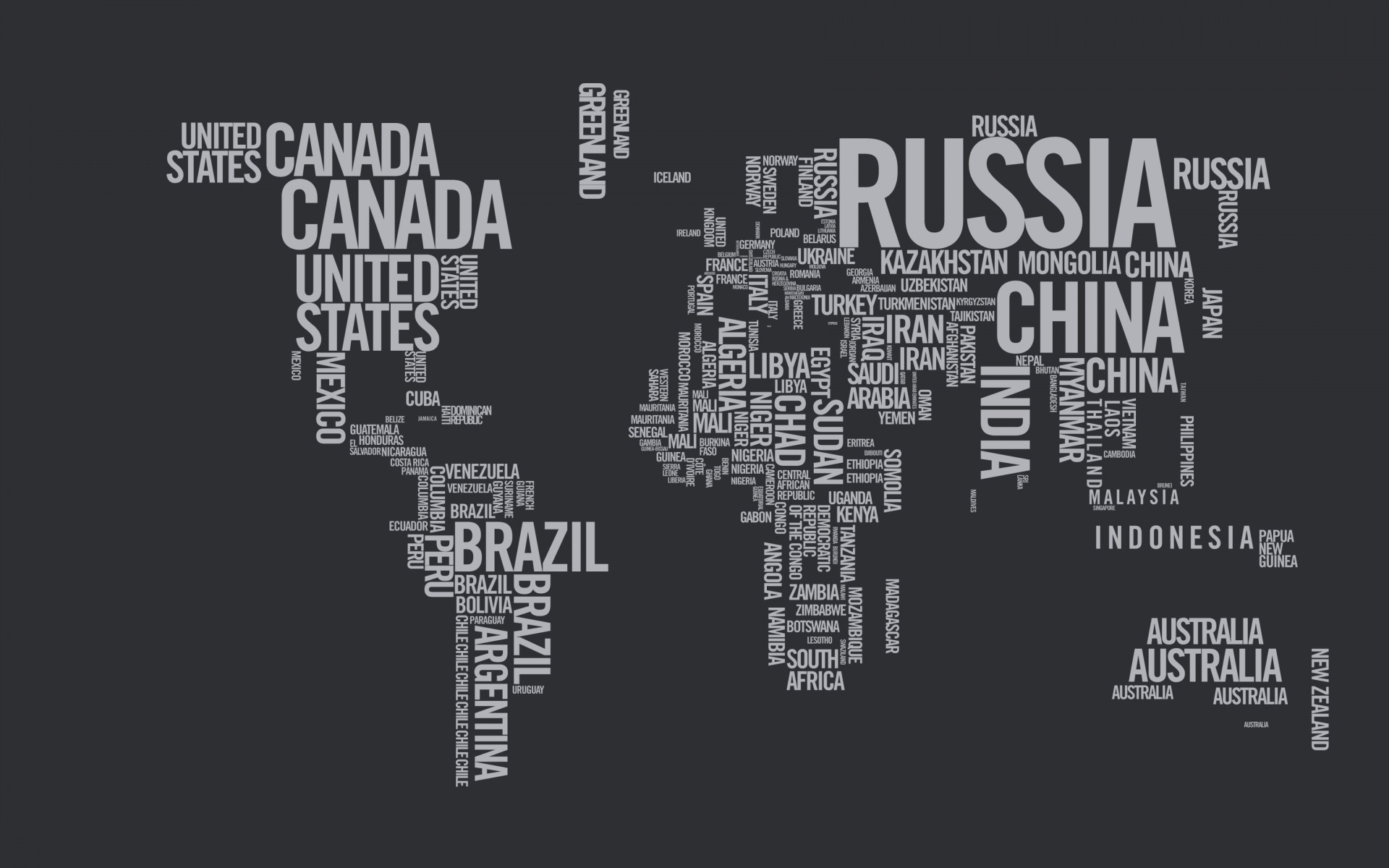 World Map Typography Wallpaper for Desktop 1920x1200
