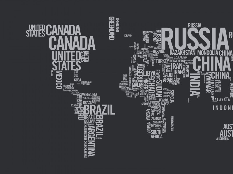 World Map Typography Wallpaper for Desktop 800x600