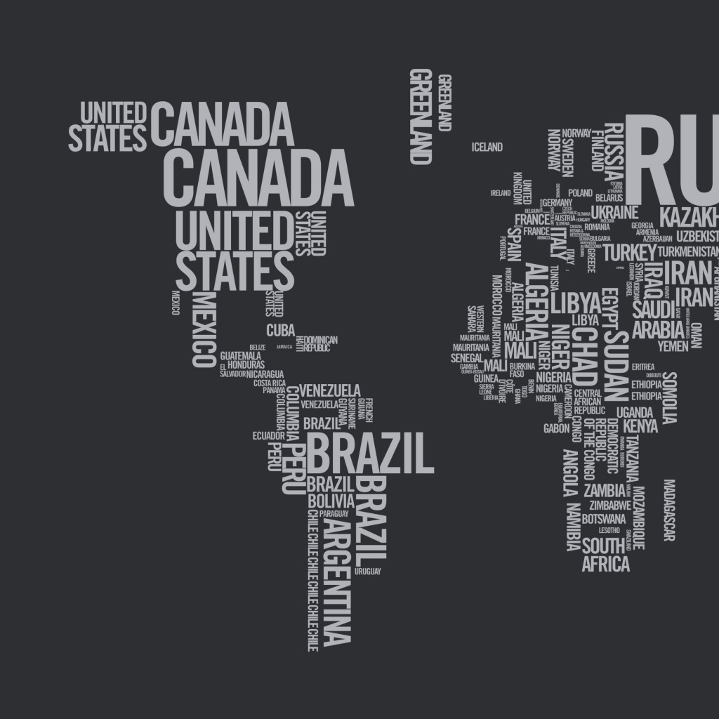 World Map Typography Wallpaper for Apple iPad