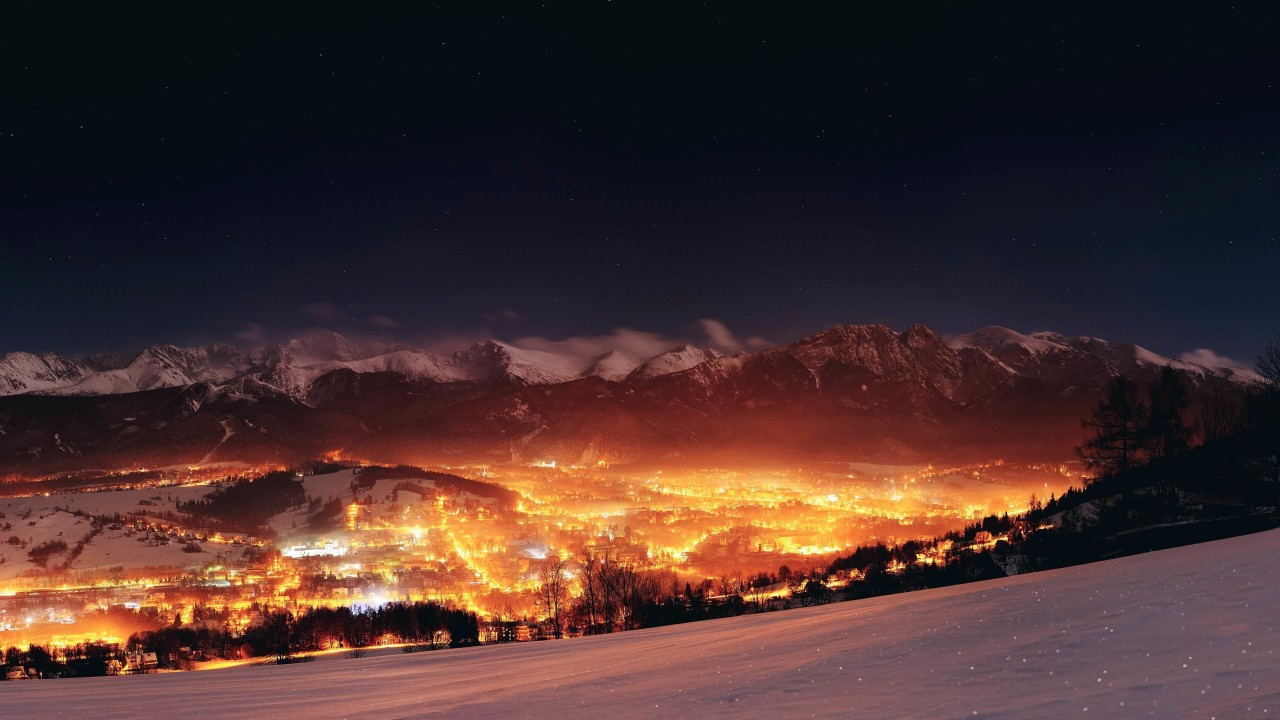 Zakopane City At Night - Poland Wallpaper for Desktop 1280x720