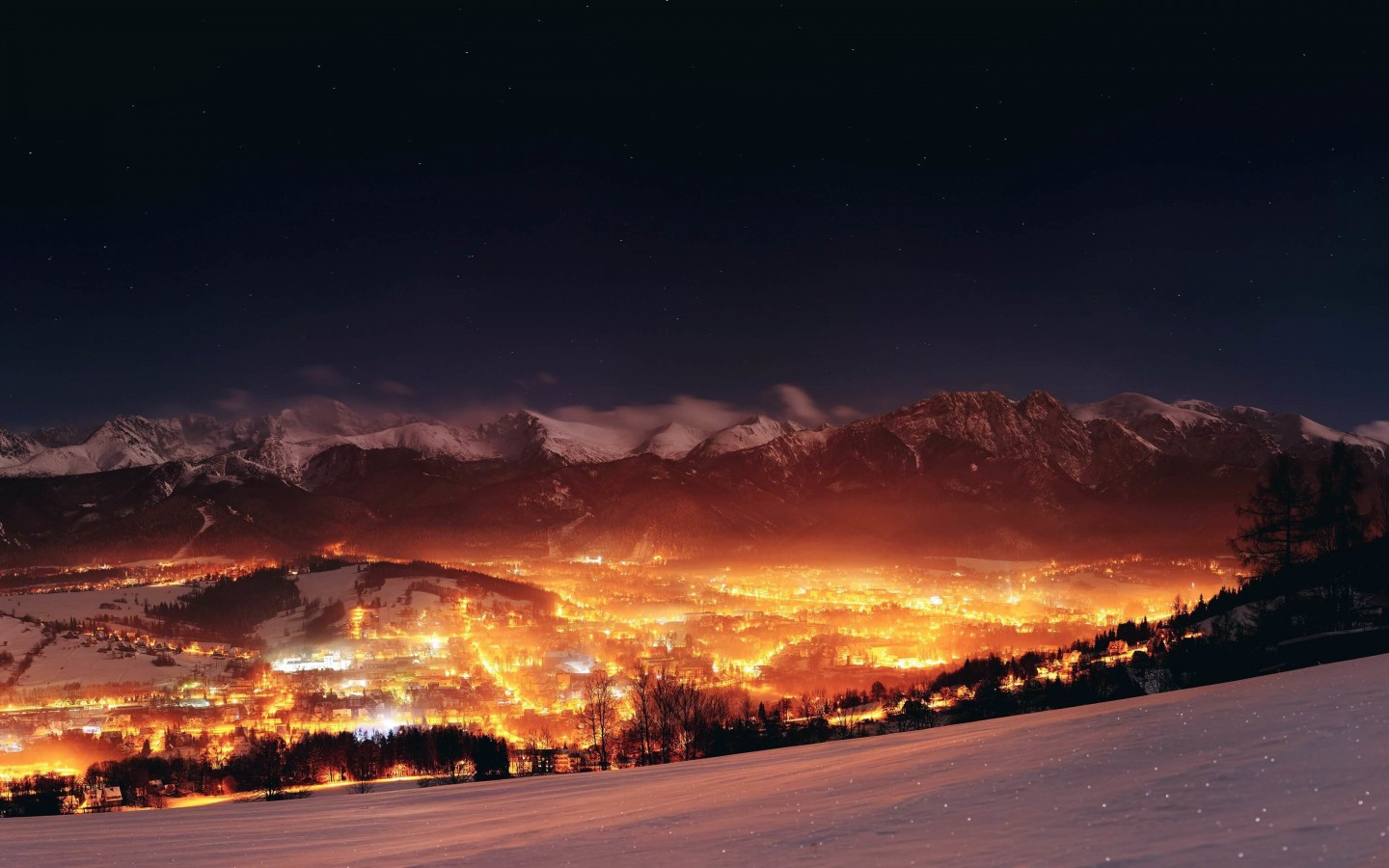 Zakopane City At Night - Poland Wallpaper for Desktop 1440x900