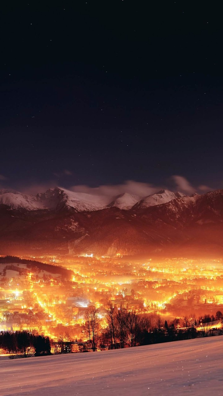 Zakopane City At Night - Poland Wallpaper for Google Galaxy Nexus