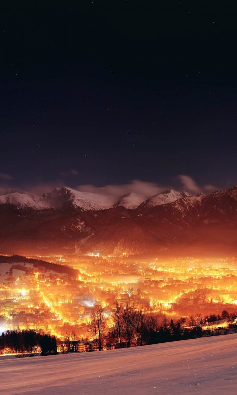 Zakopane City At Night - Poland Wallpaper for HTC Desire HD