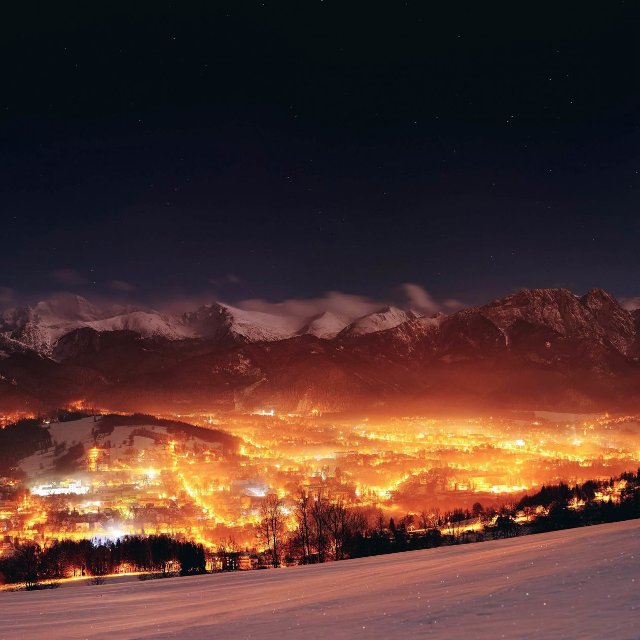 Zakopane City At Night - Poland Wallpaper for Apple iPad mini